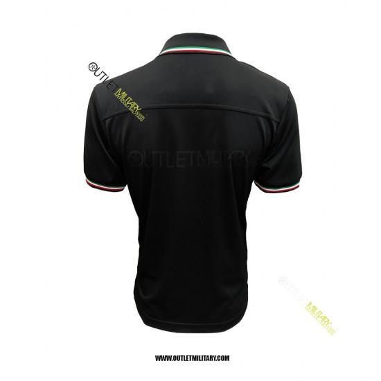 Polo Maniche Corte con Bordo Tricolore Mod. Polipropilene Microfibra Nero