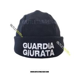 Cappello Tondo Blu in Pile Antipilling GUARDIA GIURATA BIANCA