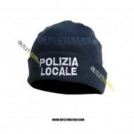 Cappello Tondo in Maglia Blu POLIZIA LOCALE