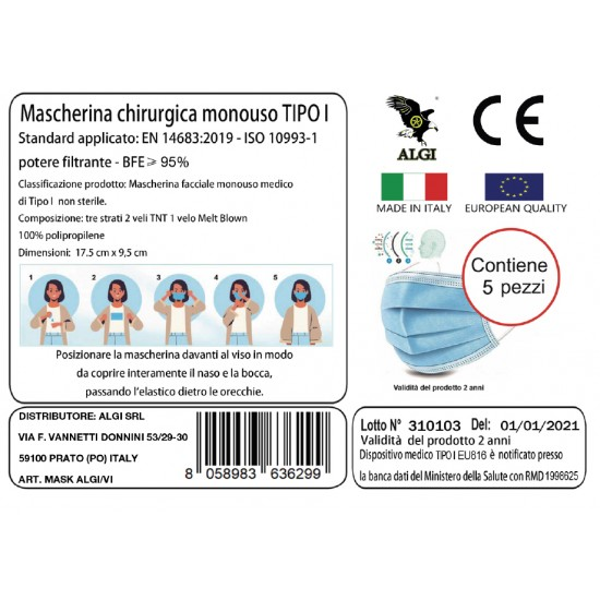 Maschere Chirurgiche Certificato CE Mimetico Vegetato