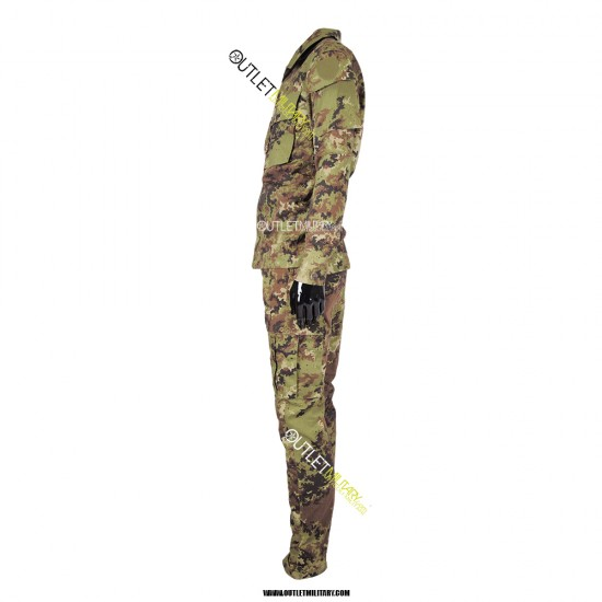 Completo Uniforme Mimetica da Combattimento Antistrappo Ripstop Cotone Vegetato Italiano