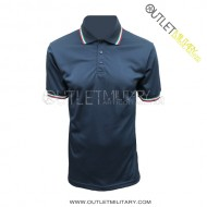 Short sleeve polo with tricolor border navy blue