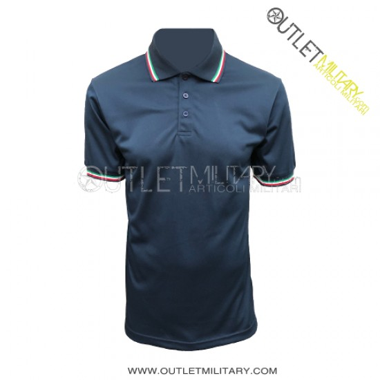 Polo Maniche Corte con Bordo Tricolore Mod. Polipropilene Microfibra Blu Navy