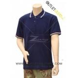 Polo Maniche Corte con Bordo Tricolore Blu Navy