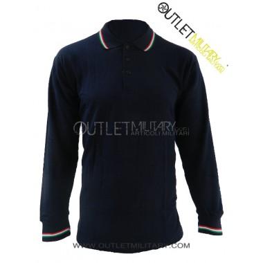Polo maniche lunghe con bordo tricolore blu navy