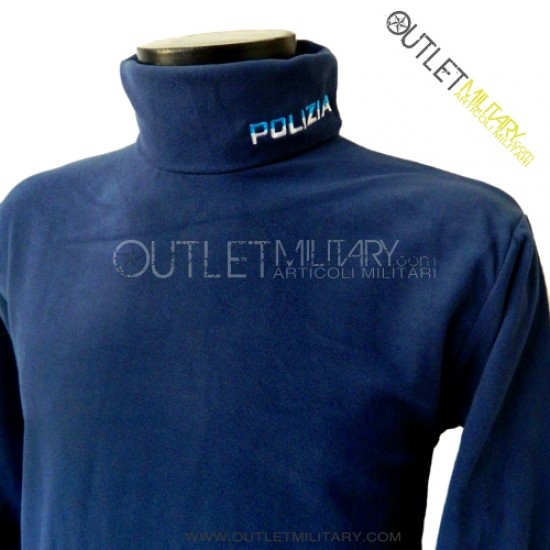 Turtleneck sweater in micro fleece royal Police