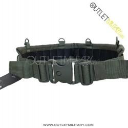 """Cinturone Cordura Comfort Imbottito H 9,00 cm con 4 Anelli """"D"""" Verde Militare"""