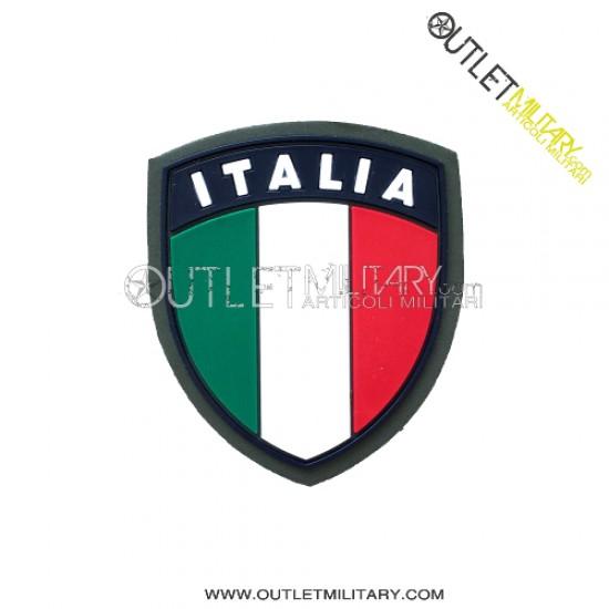 Scudetto Italia  Verde con Velcro in Gomma