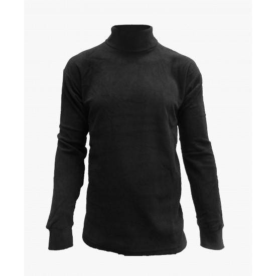 Turtleneck sweater in micro black fleece