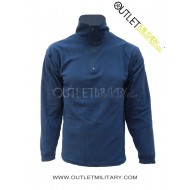 Micro fleece sweater with zipper navy blue