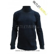 Turtleneck sweater in micro navy fleece