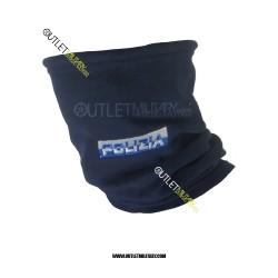 Scaldacollo Blu in Pile Antipilling con Laccio POLIZIA SCRITTA BICOLORE