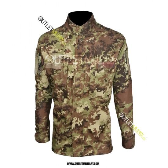 Completo Uniforme Mimetico da Combattimento Antistrappo Vegetato Trattato IR (Mod. Soldato Futuro con Stellette Applicate)