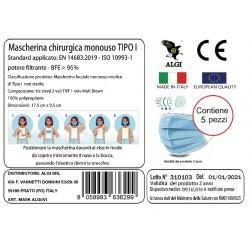 Maschere Chirurgiche Certificato CE Mimetico Vegetato da Adulto Conf. da 5 Pezzi