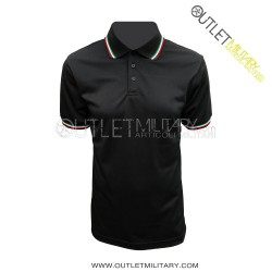 Long sleeve polo with tricolor border navy blue