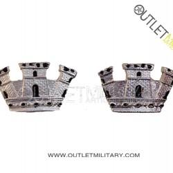 Coppia di Gradi Metalli Carabinieri Corona Turrita da Ufficiale Argento