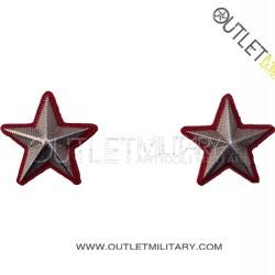 Coppia di Gradi Metalli Carabinieri Stellette Argento Bordo Rosso