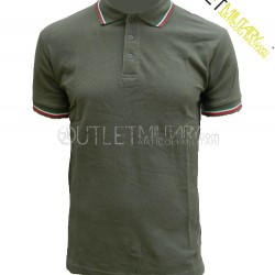Polo Maniche Corte con Bordo Tricolore Verde Militare