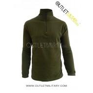 Maglia in Micro Pile Mezza Zip Verde Militare